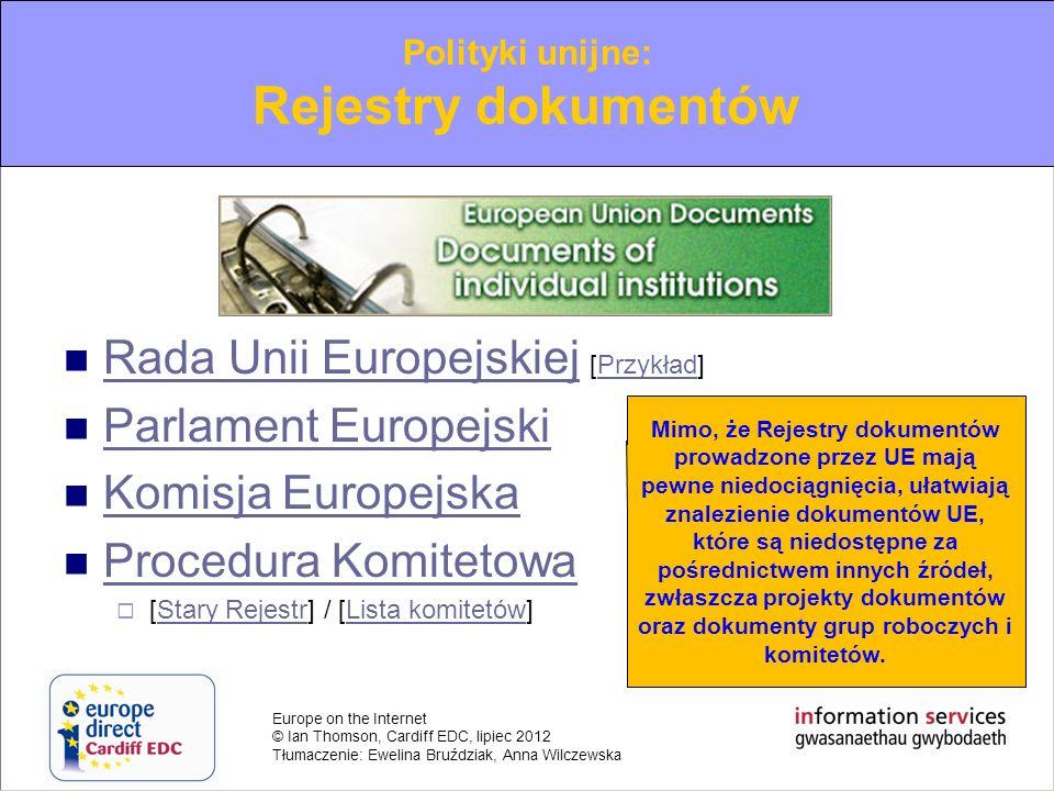 Rejestry dokumentów Rada Unii Europejskiej [Przykład]